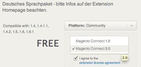 Magento Connect 2.0 auswählen