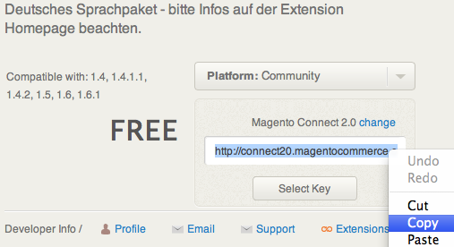 Magento Connect Extension Key in die Zwischenablage kopieren